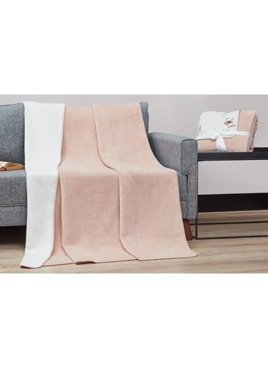Dolce Bonita Home Pamuklu Tv Battaniye 130X170 Basic Pudra Beyaz Pudra